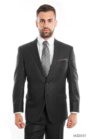 Charcoal Gray Solid 2-PC Modern Fit Suits For Men