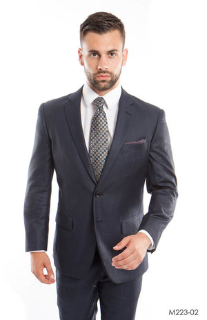Dk. Blue Solid 2-PC Modern Fit Suits For Men