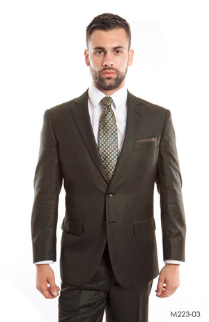 Brown Solid 2-PC Modern Fit Suits For Men