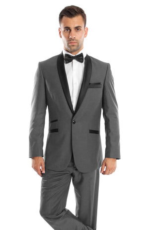 Gray / Black Solid with Black Shawl Collar Trim 2-PC Slim Fit Suits For Men