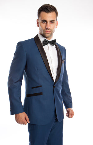 Blue / Black Solid with Black Shawl Collar Trim 2-PC Slim Fit Suits For Men