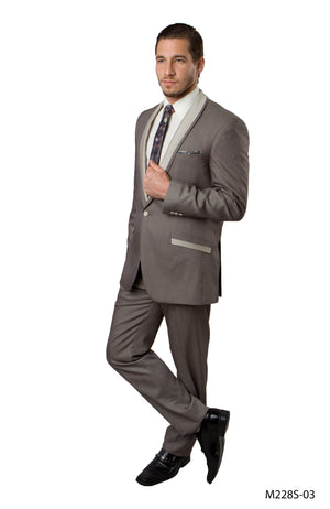 Beige Solid 2-PC Slim Fit Performence Stretch Suits For Men