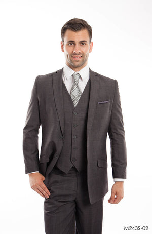 Lt. Gray 3-PC Slim Fit Stretch Suits For Men
