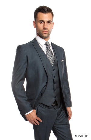 Blue 3-PC Slim Fit Performance Stretch Suits For Men