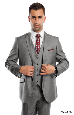 Gray 3-PC Slim Fit Performance Stretch Suits For Men