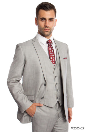 Lt. Gray 3-PC Slim Fit Performance Stretch Suits For Men