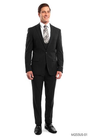 Black Solid 3-PC Ultra Slim Fit Suits For Men