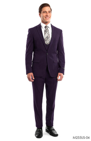 Eggplant Solid 3-PC Ultra Slim Fit Suits For Men