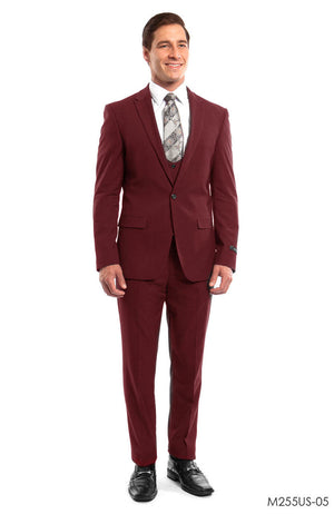 Cherry Red Solid 3-PC Ultra Slim Fit Suits For Men