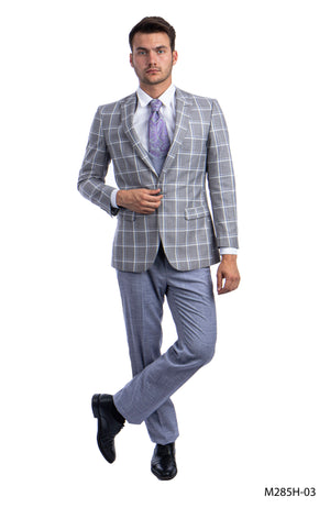 Gray/Lt.Blue Suit For Men Formal Suits For All Ocassions