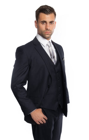Navy Solid 3-PC Modern Fit Suits For Men