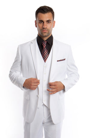 White Solid 3-PC Modern Fit Suits For Men