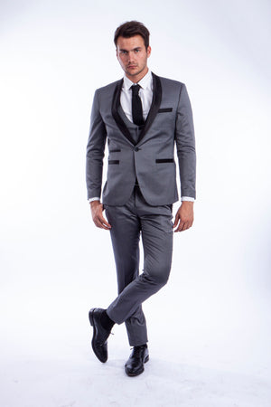 Gray/Black Suit For Men Formal Suits For All Ocassions