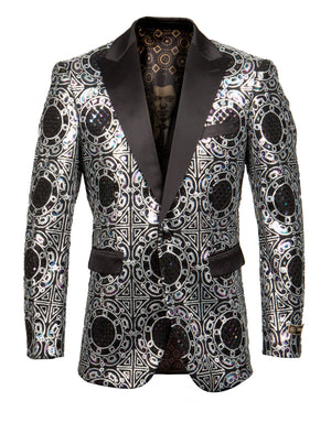 Silver Empire Show Blazers Formal Dinner Suit Jackets For Men ME259H-01