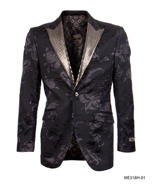 Black/Gold Empire Show Blazers Formal Dinner Suit Jackets For Men ME318H-01