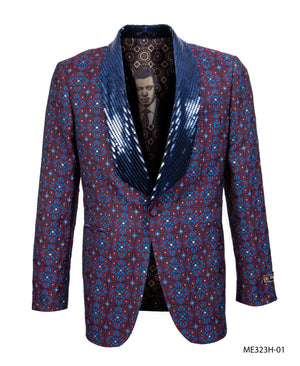 Burgundy/Blue Empire Show Blazers Formal Dinner Suit Jackets For Men ME323H-01