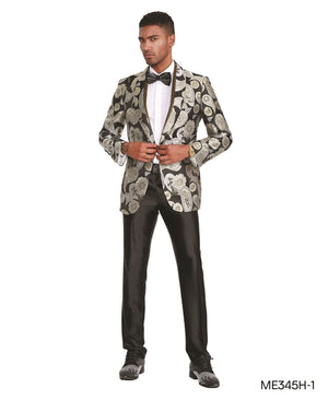 Black Silver Empire Show Blazers Formal Dinner Suit Jackets For Men ME345H-01