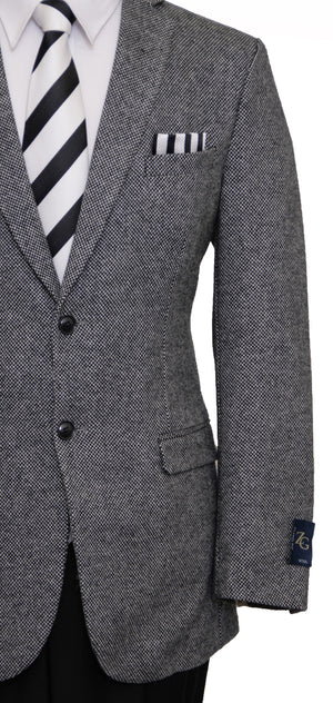Mens Wool Two Button Solid Textured Notch Lapel Sports Coat Blazer Jacket
