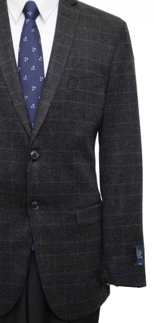 Mens Wool Two Button Window Pane Notch Lapel Sports Coat Blazer Jacket