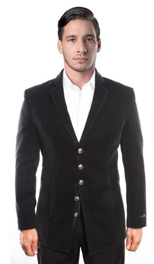 Slim Fit Textured Velvet Blazer 5 Button Jacket For Men