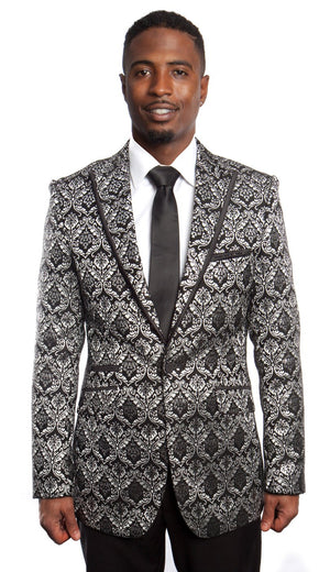 Modern Fit Pattern Design HIgh Peak Lapel Sports coat Blazer Jacket For Men