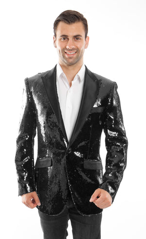 Modern Fit Sequin High Peak Lapel Mens Sports coat Blazer Jacket Form Men