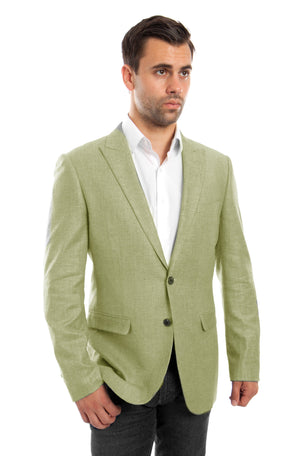 Slim Fit HIgh Peak Lapel Linen Mens Sports coat Blazer Jacket For Men