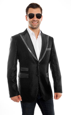 Modern Fit Houndstooth Pattern High Satin Peak Lapel With Trim Sports coat Blazer Jacket For Men