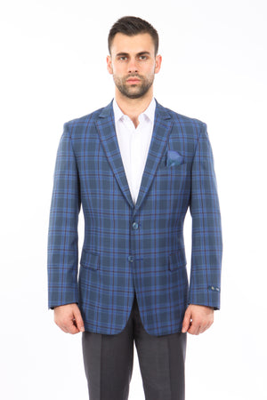 Blue / Charcoal / Burgundy Windowpane Tazio Sports Coat Dinner Jackets