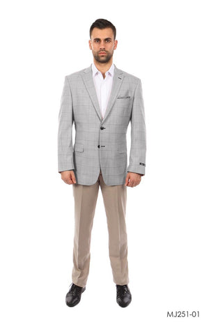 Grey / Charcoal Windowpane Tazio Sports Coat Dinner Jackets