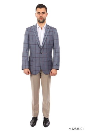Grey / Burgundy Windowpane Tazio Sports Coat Dinner Jackets