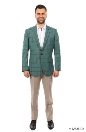 Mint / Burgundy Windowpane Tazio Sports Coat Dinner Jackets