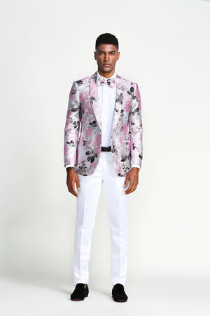 Slim Fit Floral Pattern Tone on Tone w/ Trim Lining Sports coat Blazer Jacket For Men