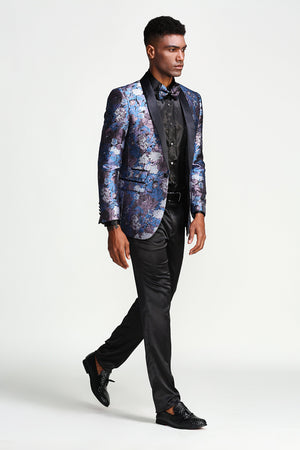 Slim Fit Tie Dye Satin Shawl Collar Sports coat Blazer Jacket For Men