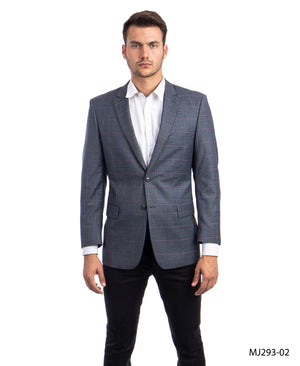 Charcoal / Blue / Pink Windowpane Tazio Sports Coat Dinner Jackets