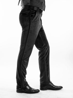 Bryan Michaels Black Velvet Tuxedo Dress Pants For Men