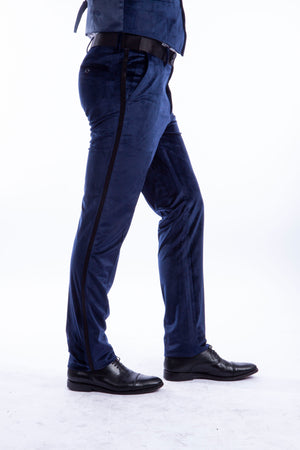 Bryan Michaels Blue Velvet Tuxedo Dress Pants For Men