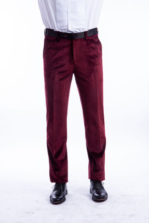 Bryan Michaels Burgundy Velvet Tuxedo Dress Pants For Men