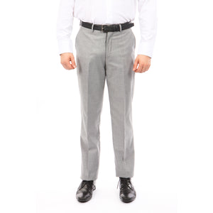 Demantie Grey Performance Stretch Wool Dress Pants For Men