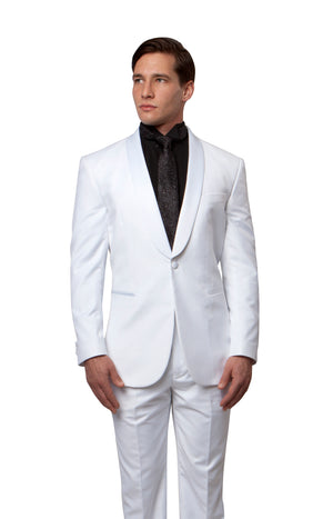 Satin Peak Lapel Tuxedo Solid Slim Fit Prom Tuxedos For Men