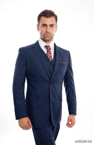 Indigo Wool Blend Suit For Men Formal Suit Jackets For All Ocassions MW249-04