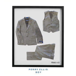 Lt Grey 3 Piece Perry Ellis Textured Suits For Boys PB401-03
