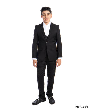 Jet Black 3 Piece Perry Ellis Suits For Boys PB408-01