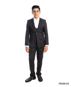 Dark Grey 3 Piece Perry Ellis Suits For Boys PB408-04