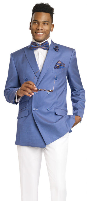 Dennis Graham Collection Blue Double Breasted Suit