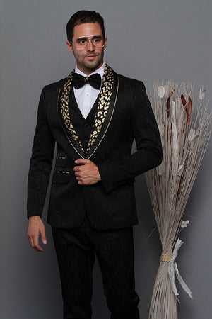 Maksmenswear black and gold paisley jacket with matching bow tie and black vest + pants