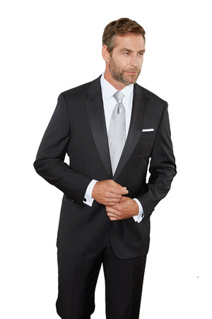 Maks Menswear Black 100% Worsted Wool One Button Peak Lapel Tuxedo