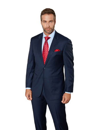 Maks Menswear Blue 100% Worsted Wool Two Piece Suit