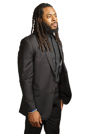 Richard Sherman black wool suit