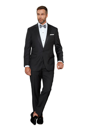 Maks Menswear Black 100% Worsted Wool One Button Notch Lapel Tuxedo